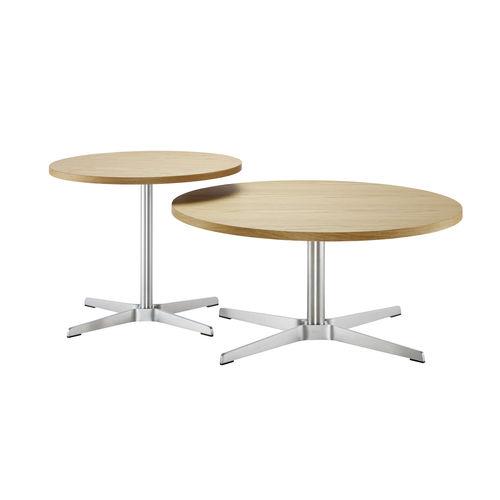 tavolo d'appoggio moderno / in legno / in acciaio / tondo