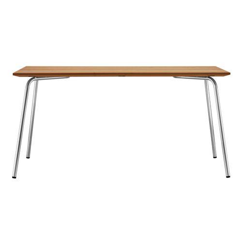 tavolo moderno / in acciaio inossidabile / in laminato / con supporto in acciaio inossidabile