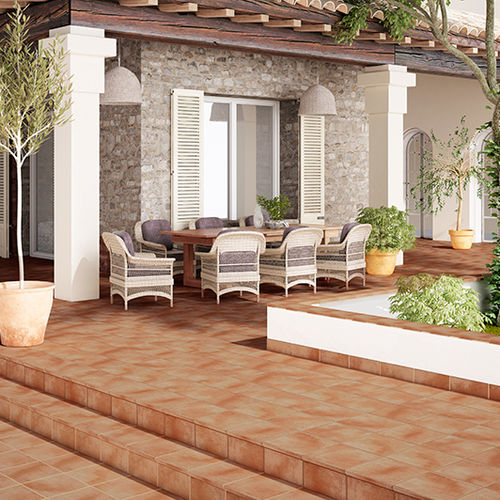 pavimento in ceramica / per uso contract / a quadrotte / arancione