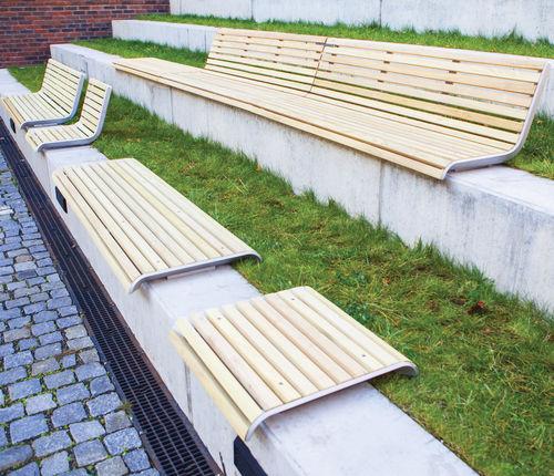 panca pubblica / moderna / in legno