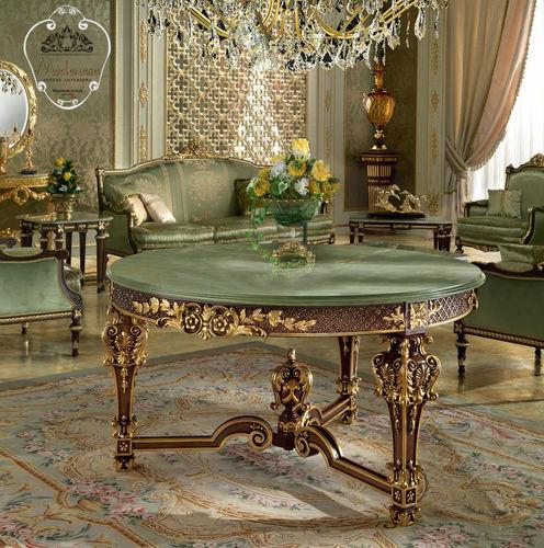 tavolo in stile / in legno massiccio / con supporto in legno massiccio / tondo