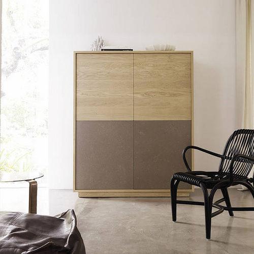 credenza alta / moderna / in legno laccato / in quercia