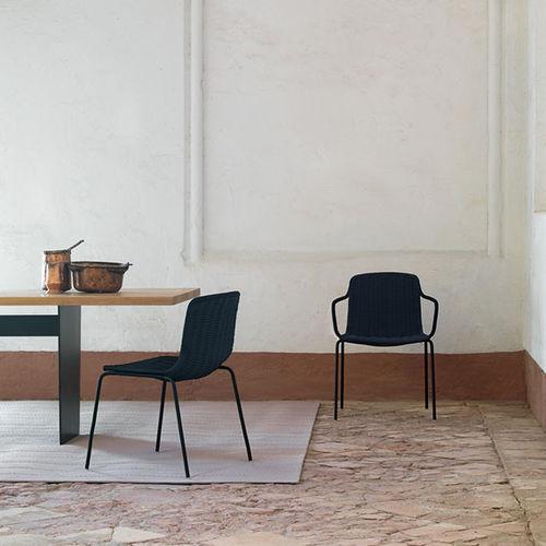 sedia moderna / impilabile / in rattan / in acciaio inossidabile