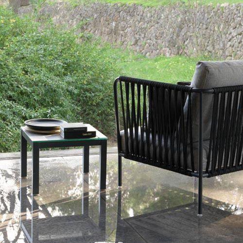 tavolo d'appoggio moderno / in vetro / in vetro temprato / in acciaio