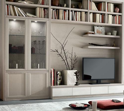 parete attrezzata TV moderno / in legno laccato / in frassino
