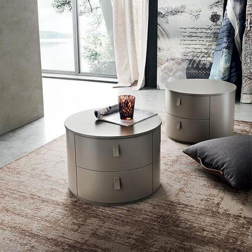 comodino moderno / in legno laccato / in frassino / tondo