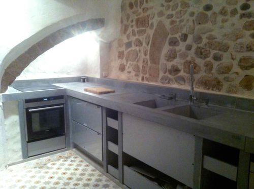cucina moderna / in calcestruzzo HUP Ductal© / in acciaio / opaca