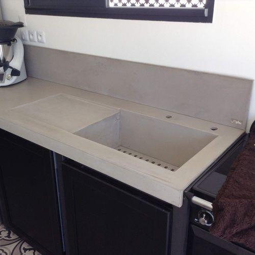piano di lavoro in calcestruzzo HUP Ductal© / da cucina
