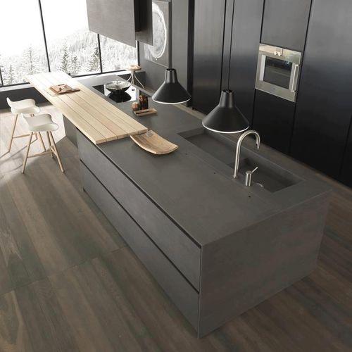 cucina moderna / in calcestruzzo HUP Ductal© / con isola / opaca
