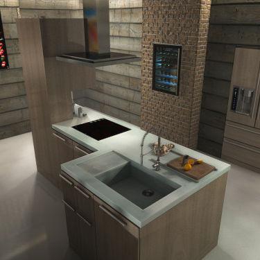 cucina moderna / in calcestruzzo HUP Ductal© / con isola / con impugnature