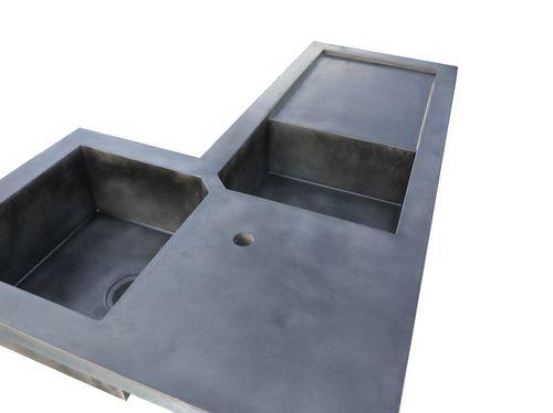 lavello a 2 vasche / in calcestruzzo HUP Ductal© / d'angolo / con gocciolatoio