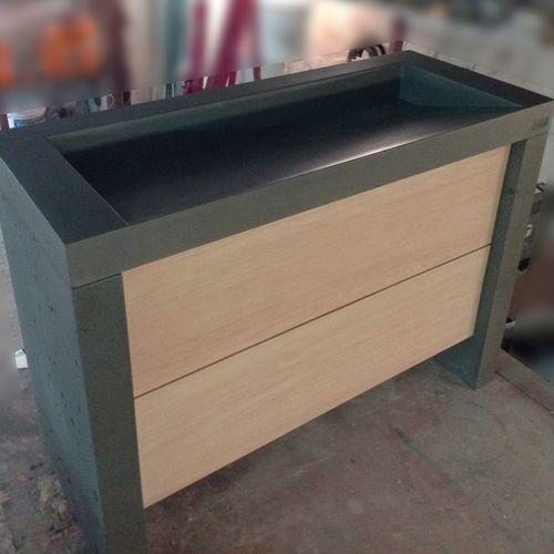 mobile lavabo da appoggio / in legno / in cemento / moderno