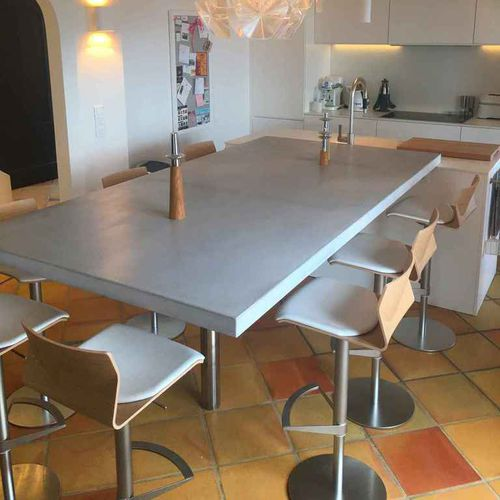 tavolo da pranzo moderno / in calcestruzzo HUP Ductal© / in acciaio / in acciaio inossidabile