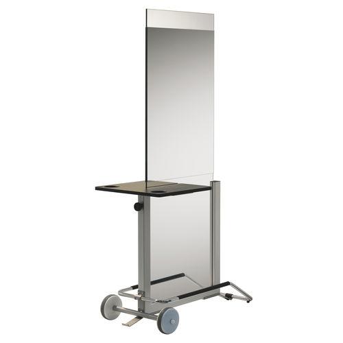 mobile da toeletta moderno / in alluminio / per parrucchiere / con rotelle