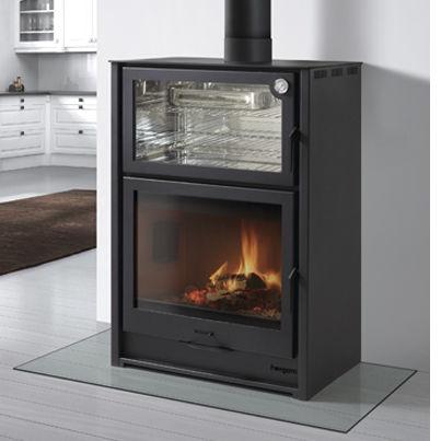 stufa a legna / in acciaio / moderna / con forno
