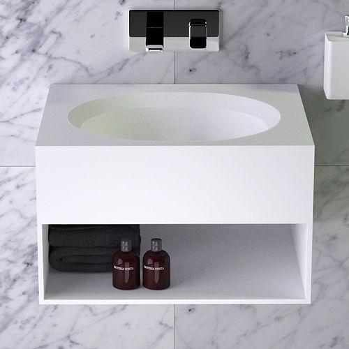 mobile lavabo a muro / in legno / in Solid Surface / moderno