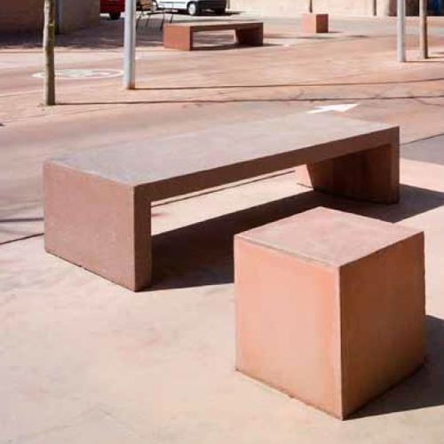 panca pubblica / design minimalista / in cemento armato / a doppia seduta