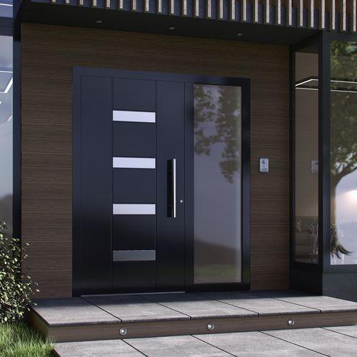porta d'ingresso / battente / in alluminio / acustica