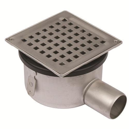 piletta in acciaio inox / per doccia / con griglia / con scarico laterale