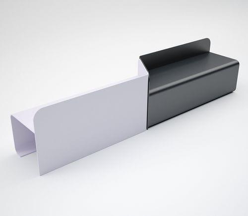 panca pubblica / moderna / in acciaio galvanizzato / con schienale