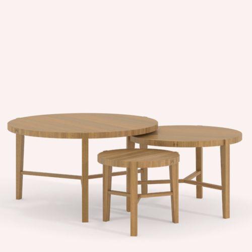 tavolino estraibile moderno / in quercia / tondo