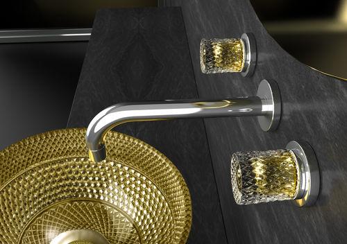 miscelatore doppio comando per lavabo / da parete / in cristallo / da bagno