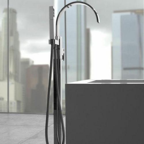miscelatore per vasca / a pavimento / in metallo cromato / in nichel