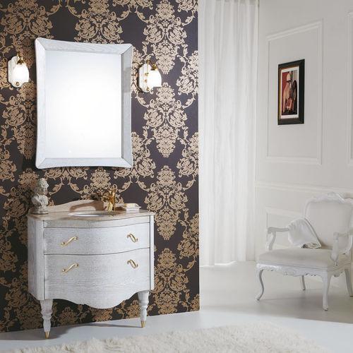 mobile lavabo da appoggio / in legno / in marmo / in travertino