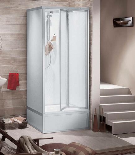 box doccia in acrilico / d'angolo / con porta pieghevole