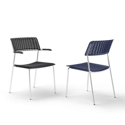 sedia moderna / con braccioli / impilabile / 100% riciclabile