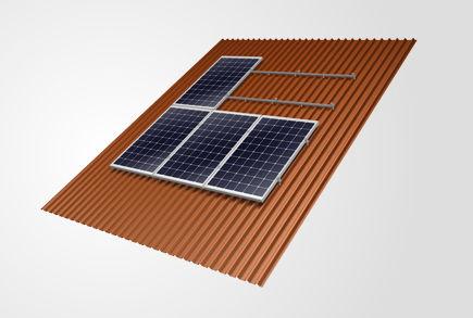 sistema di montaggio per tetti in lamiera ondulata / su tetto / per applicazioni fotovoltaiche