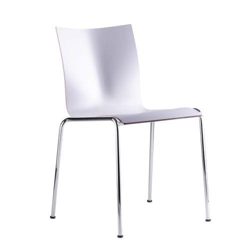 sedia visitatore moderna / imbottita / impilabile / in pelle