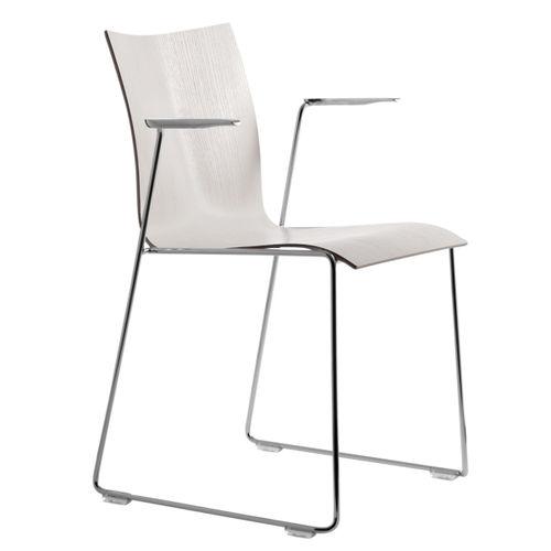 sedia visitatore moderna / a slitta / in cromo / in alluminio lucido