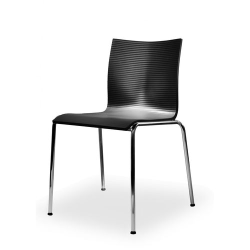 sedia visitatore moderna / impilabile / in raso / in cromo