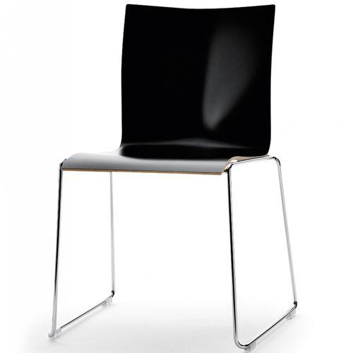 sedia visitatore moderna / impilabile / a slitta / in cromo