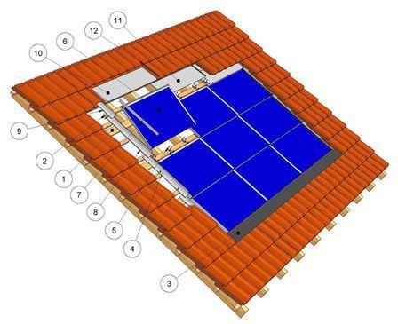 sistema di montaggio per tetto di tegole / integrato / per impianti fotovoltaici