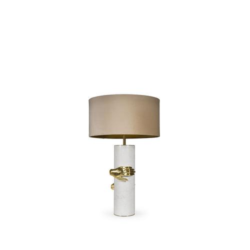lampada da tavolo / moderna / in ottone lucidato / in tessuto