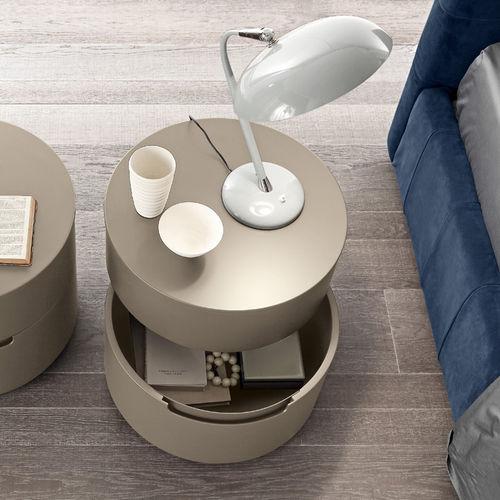 comodino moderno / in legno laccato / tondo / con cassetti