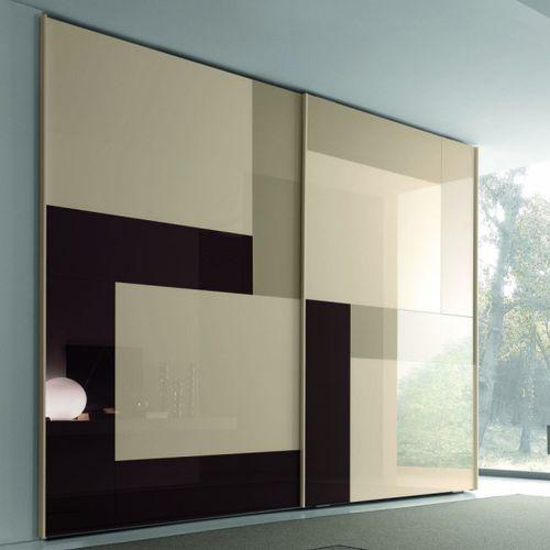 armadio da parete / moderno / in vetro laccato / a porte scorrevoli