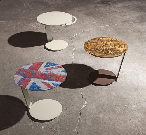 tavolino moderno / in metallo laccato / tondo / con cassetti