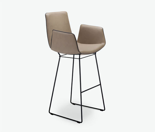 sedia alta moderna / imbottita / con braccioli / a slitta
