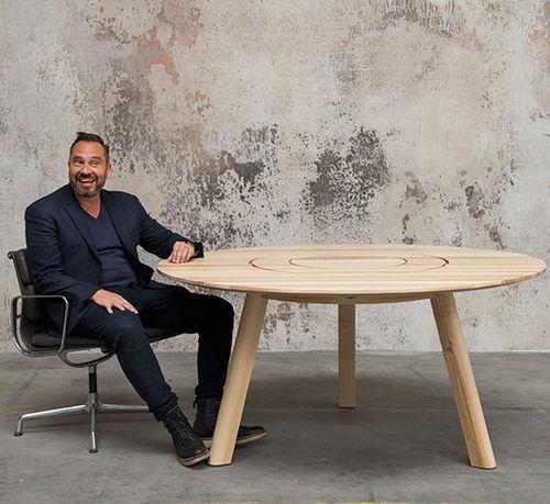 tavolo da picnic moderno / in legno massiccio / con supporto in legno / rettangolare