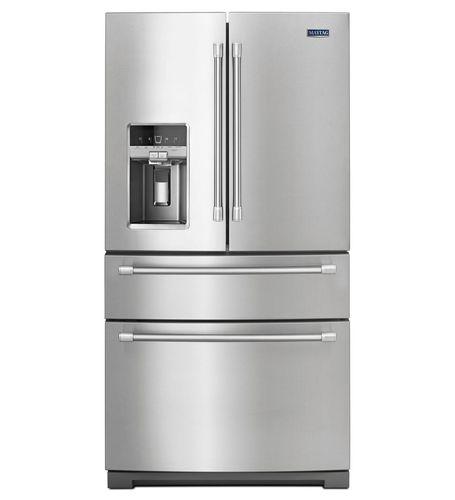 frigorifero combinato americano / in acciaio inox / con distributore di ghiaccio / con dispenser d'acqua