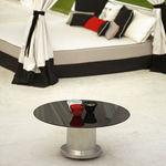 tavolino basso moderno / in vetro / con supporto in metallo / tondo