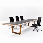 tavolo da riunione moderno / in legno / con supporto in alluminio / rettangolare