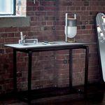 tavolo moderno / in legno / in marmo / con supporto in legno