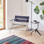 tavolo d'appoggio moderno / in acciaio / con supporto in acciaio / tondo