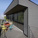 rivestimento di facciata in PVC / con scanalature / a doghe / aspetto legno