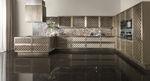 cucina classica / in ottone spazzolato / in marmo / a L