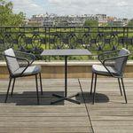 sedia moderna / con braccioli / con cuscino rimovibile / in acciaio inossidabile